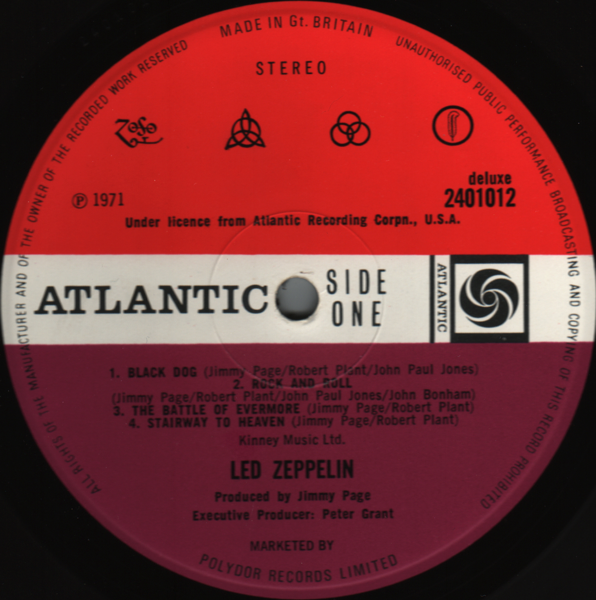 Led Zeppelin Iv Redplum Atlanticall 5 Label Variations Rare