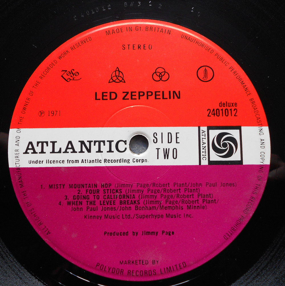 Led Zeppelin Untitled Upside Down Feathers On Labels